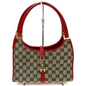 Auth Gucci Navy Blue Red Leather Canvas #3353G10